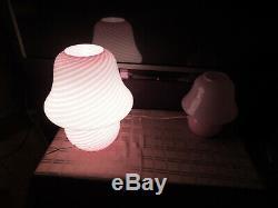 Vintage Mid Century Murano Pink Swirl Mushroom Lamp Italian Art Glass 16 Inches