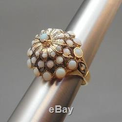 Vintage Mid Century Opal 14K Gold Cocktail Ring Modern Dome Cluster Design 6 1/4