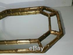 Vintage Mid Century Regency/Chinoiserie Gold Gilt Faux Bamboo Wood Wall Mirror