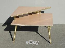 Vintage Mid Century Retro 1960 Corner Table Coffee Table w Brass Peg Legs