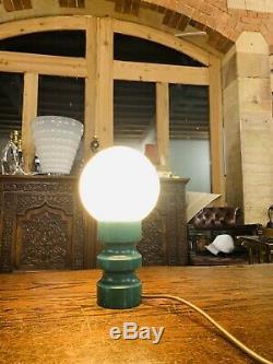 Vintage Mid Century Retro Wooden Table Lamp With Handblown Opaline Globe