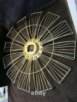 Vintage Mid-Century Starburst Wall Clock metal Sunburst Atomic 1950s-60s Germany
