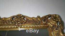 Vintage Mid Century TURNER Ornate Wall Mirror Gold Gilt Molded Plastic Frame