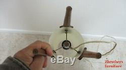 Vintage Mid Century Teak Cylinder Space Age Rocket Ship Table Lamp Light