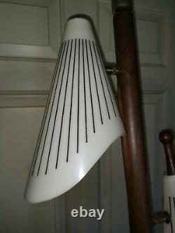 Vintage Mid Century Tension Pole Floor Lamp 1950s/60s Plastic Shades Gold Metal