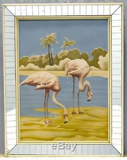 Vintage Mid-Century Turner Flamingo Art Print in Original Mirror Frame Tropical