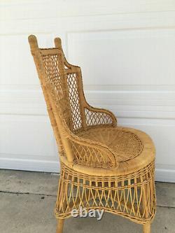 Vintage Mid Century Wicker Rattan Braided Arm Chair