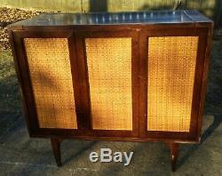 Vintage Mid Century Wood Wicker Mirror Service Bar Cabinet Console modern danish