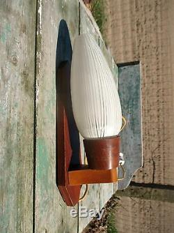 Vintage Mid Century wall Lamp Sconce Teak Danish Modern