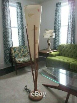 Vintage Mid-century Modern Danish Adrian Pearsall Wooden Floor Lamp Modeline