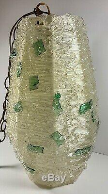 Vintage Mid-century Modern Lucite Spaghetti Lamp Atomic Hanging Swag Light