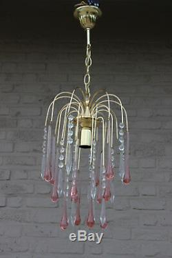 Vintage Murano drops pink Mid century Pendant chandelier brass 1970