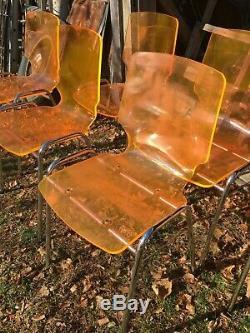 Vintage Orange Lexon Plastic /Chrome Chairs set of 6 Mid Century Chair Set
