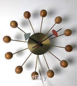Vintage Original Irving Harper George Nelson Wood Ball Clock Mid Century