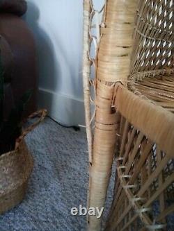 Vintage PEACOCK wicker CHAIR fan ratan high back mid century boho chic bohemian