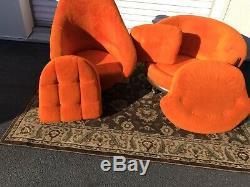 Vintage Pair Baughman Style Mid Century Barrel Lounge Chairs Swivel Orange 70s
