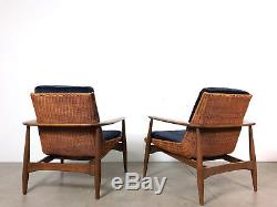 Vintage Pair Lawrence Peabody Rare Wicker Lounge Chairs Mid Century Modern 1960s