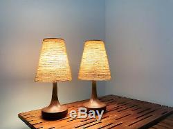 Vintage Pair Lotte Gunnar Bostlund Ceramic Jute Lamps Mid Century Danish Modern
