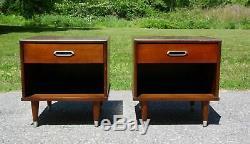 Vintage Pair Mid Century Modern Joerns Furniture Walnut Nightstands End Tables