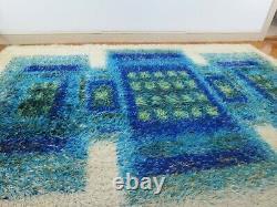 Vintage RYA Rug 6x9' Shag Area Rug Mid Century Green Blue Sears Sapphire Wool