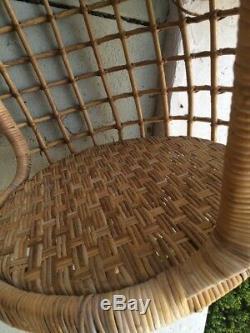 Vintage Rattan Wicker Mid Century MCM Modern Egg Swing Hanging Chair WILL SHIP