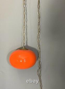 Vintage Red Glass Globe Hanging Swag Light Mid Century Modern Chain Retro