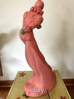 Vintage Reglor Harlequin Lamp Pair Pink Mid Century 1950s Chalkware Retro Kitsch