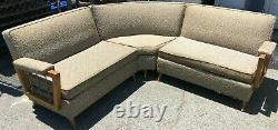 Vintage Retro Art Deco 3 Piece Sectional Sofa Couch Mid-Century Upholstered