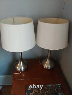 Vintage Retro MID CENTURY MODERN Atomic teardrop Lamp Pair (2) with shades