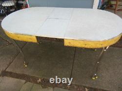 Vintage Retro Mid Century Deco Formica Yellow Vinyl Dining Kitchen Table Chrome