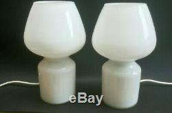 Vintage Retro Table Lamp Modern Glass Mushroom Light Mid Century x 2 Hala Zeist