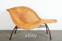 Vintage Sculptural Mid Century Modern Wicker Chaise Lounge after Eames La Chaise