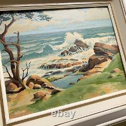 Vintage Set 2 PAINT BY NUMBER Framed Mid Century Ocean Scene Seaside Lighthouse