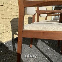 Vintage Set 4 Mid Century Danish Modern Wood White Arm Chairs LOCAL PICKUP