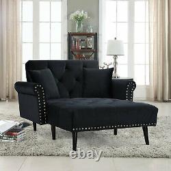 Vintage Sleeper Sofa Velvet Sleeper Chaise Lounge Futon Sleeper Single Black
