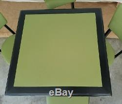 Vintage Stakmore Folding Table & 4 Chairs! Mid Century Modern LIME GREEN & BLACK