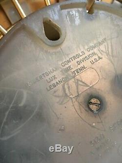 Vintage Starburst Atomic WALL CLOCK Mid Century walnut wood original 26 Dia