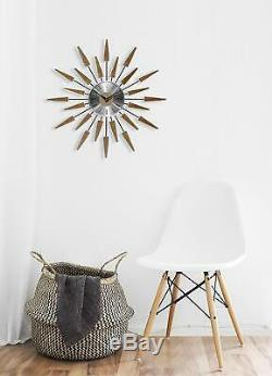 Vintage Starburst Clock Wall Mid Century Retro Sunburst Modern Home Decor Metal