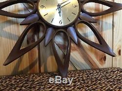 Vintage Starburst Wall Clock Mid Century Modern MCM Sunburst Syroco Brown Gold