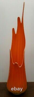 Vintage Swung Glass Vase Orange Bittersweet L. E. Smith Mid-Century Modern 36 in