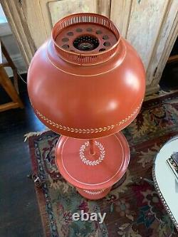 Vintage Tole Toleware Red Orange Floor Lamp Superb Mid Century Decor Original