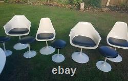 Vintage Tulip Dining Table & 4 Chairs 4 Swivel Stools Original Mid Century