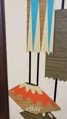 Vintage Wall Accessory Shadowbox Mirror & Shelf Mid-Century Modern MCM Atomic