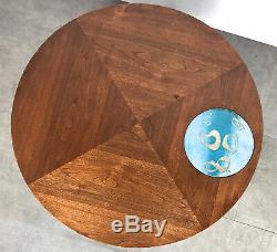 Vintage Walnut Enamel Inlaid Round Coffee Table Rare Mid Century Danish Modern
