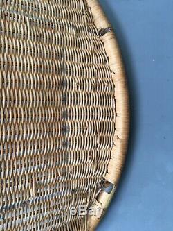 Vintage Wicker Mid Century Satellite Atomic Tub Chair Boho Heart Design
