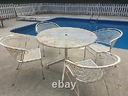 Vintage mid century Salterini Patio chairs And Table Russell Woodard