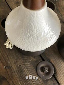 Vintage mid century modern Pair Of Table Lamps Eames Era Danish 60s Walnut