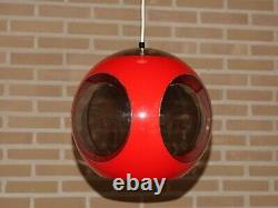 Vintage red Luigi Colani mid century space age lamp Designer pendant bugeye