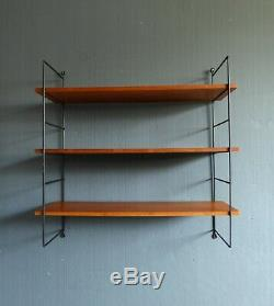 Vintage retro mid century string shelf shelving Strinning Tomado Ladderax style