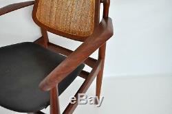 Vodder Vtg Mid Century Danish Modern Teak Wood Leather Cane Lounge Arm Chair